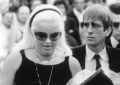 With close friend Diana Dors at Violet Kray\'s funeral, east London, August 11 1982.