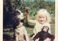 Daughter Madeleine with Jimmy and monkey.