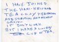 Written on the back of the Tea Cosy picture